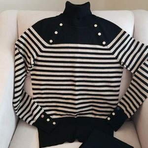 WHBM gold sparkly and black turtleneck  sweater.